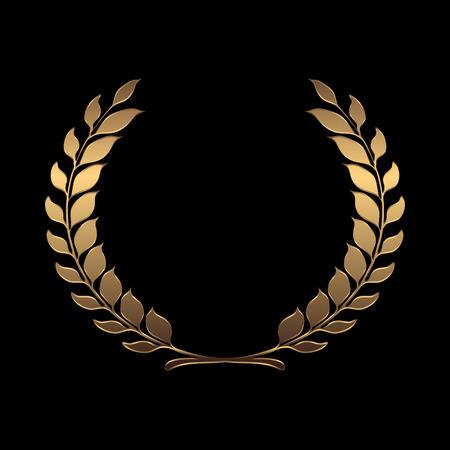 Illustration for Vector gold award wreaths, laurel on black background vector illustration - Royalty Free Image