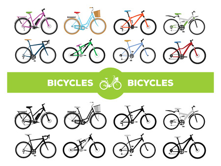 Illustration pour Set of various sport, city and electric bicycles - image libre de droit