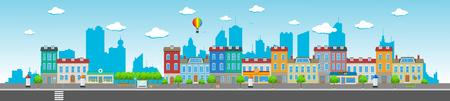 Illustration pour Long city street with various urban buildings, houses, shops, cafes, trees and facilities. - image libre de droit
