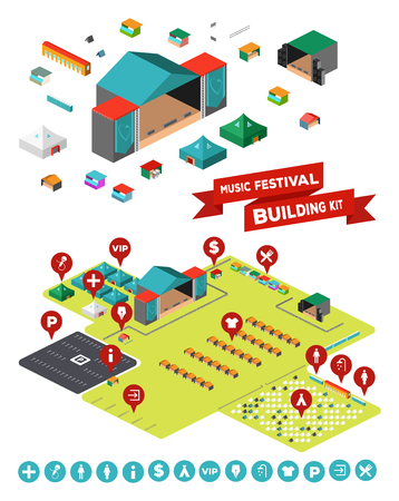 Illustration pour Huge set of everything you need to design your own music festival - stages, facilities, tent camp, fences, parking lot and so on - image libre de droit