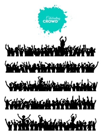 Illustration for A set of 5 silhouettes of cheering and dancing crowd of people at concert, disco, club etc. - Royalty Free Image