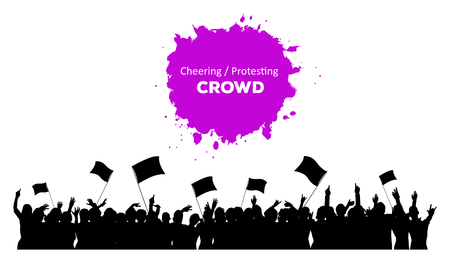 Illustration pour A silhouette of cheering or protesting crowd with flags and banners - image libre de droit