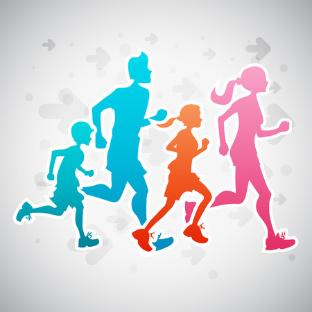 Illustration pour Vector illustration of a family running exercise. - image libre de droit