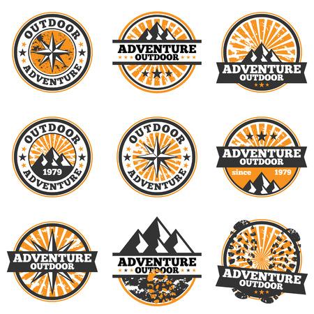 Illustration pour Vector illustration of adventure badge design elements. - image libre de droit