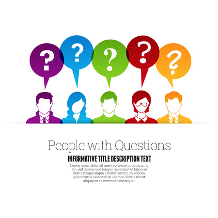 Illustration pour Vector illustration of color people profile with question marks talk bubbles. - image libre de droit