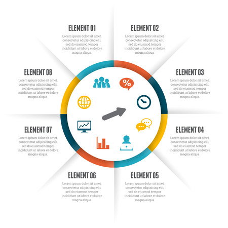 Ilustración de Vector illustration of rolling circle infographic design element. - Imagen libre de derechos