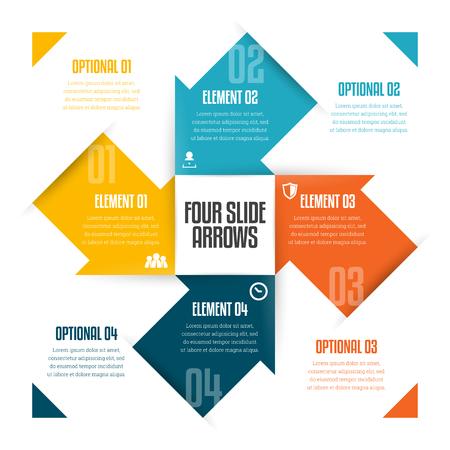Ilustración de Vector illustration of four slide arrows infographic design element. - Imagen libre de derechos
