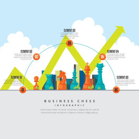 Ilustración de Vector illustration of business chess infographic design element. - Imagen libre de derechos