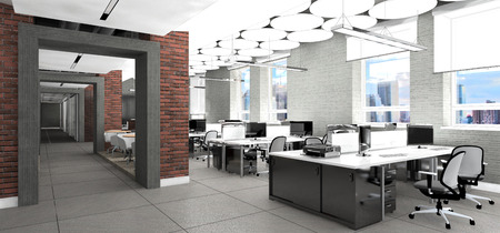 Photo for Empty modern office interior work place visualization - Royalty Free Image