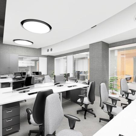 Foto de Empty modern office interior work place visualization - Imagen libre de derechos