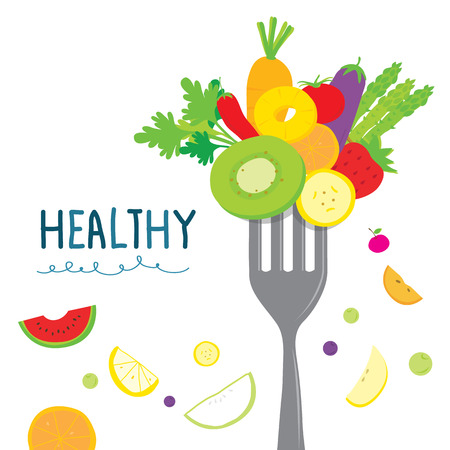 Foto de Healthy Fruit Vegetable Diet Eat Useful Vitamin Cartoon Vector - Imagen libre de derechos