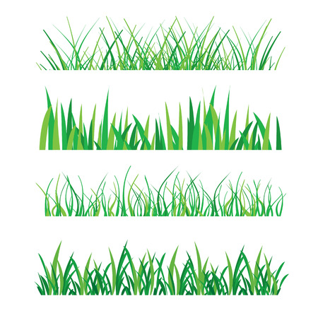 Illustration pour Backgrounds of Green Grass Isolated On White Vector Illustration - image libre de droit