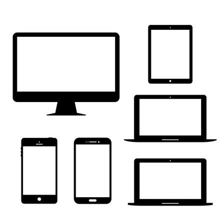 Illustration pour Computer monitor laptop tablet Mobile Phone Electronic gadgets Vector Icon - image libre de droit