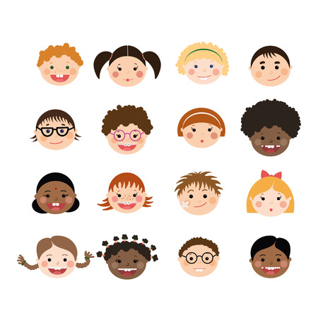 Illustration pour Vector set of children smiling faces. Children with different skin color, boys and girls with hairstyles, glasses, braces. - image libre de droit