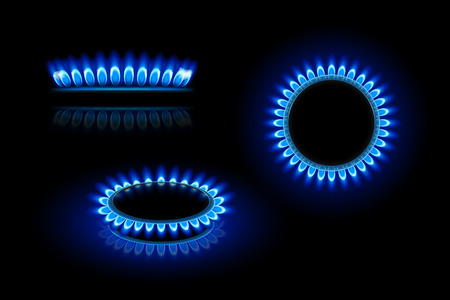 Illustration pour illustration of gas stove in three views on dark background - image libre de droit