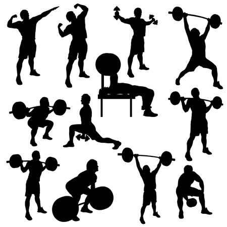 silhouette illustration of deifferent male atheletes wivh are working out