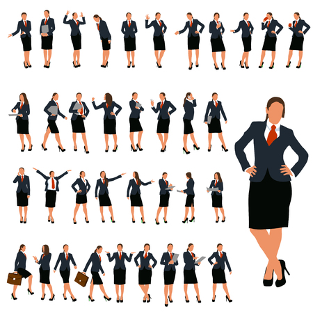 Illustration pour set of business woman in different poses in color - image libre de droit