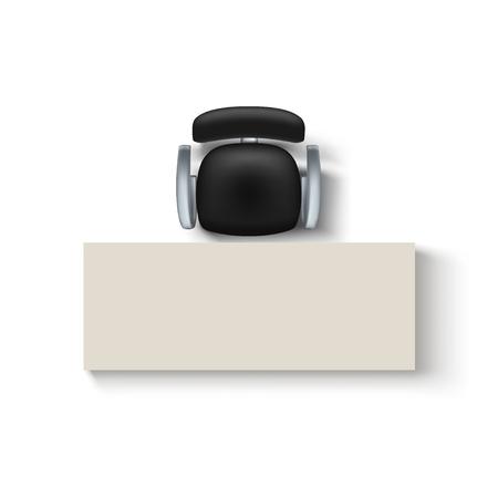 Ilustración de illustration of top view black color chair and desk wit shadow on white background - Imagen libre de derechos