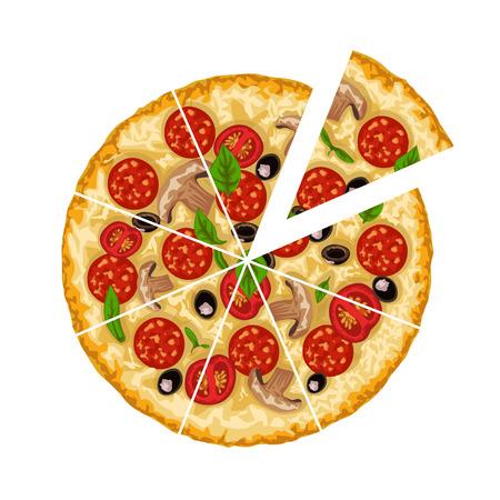 Ilustración de illustration of round meat and vegetables tasty pizza sliced isolated on white background - Imagen libre de derechos