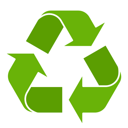 Illustrazione per Vector illustration of green recycle symbol isolated on white background. Recycling sign in flat style. - Immagini Royalty Free