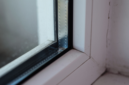 Foto de Detail photo of the modern window profile - Imagen libre de derechos