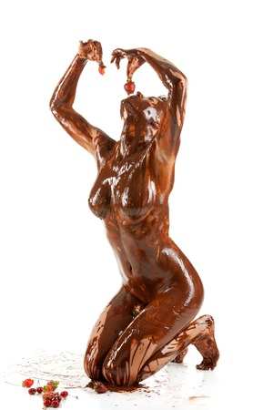 Photo pour naked blonde woman covered sweet cream chocolate - image libre de droit