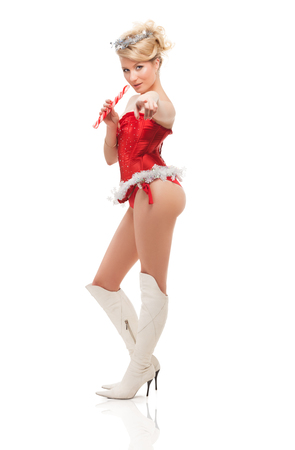 Photo for beautiful blonde sexy girl wearing santa claus clothes - Royalty Free Image