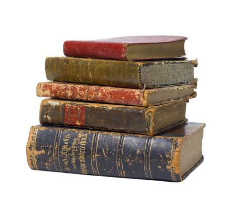 Foto de Antique vintage old retro worn books in stack isolated on white background / backdrop. - Imagen libre de derechos