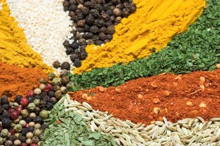 Assortment of various colorful spices close up