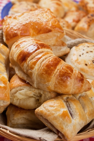 Photo for Croissants, sesame buns and other puff pastry - Royalty Free Image