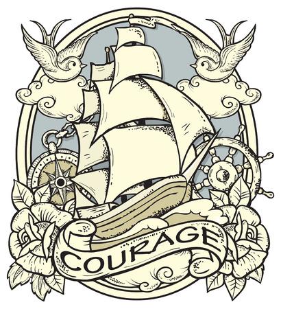 Illustration pour Vector illustration of ship and sailor atributes - image libre de droit