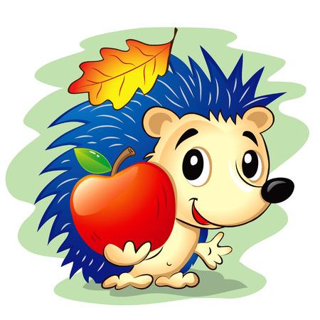 Vector illustration of cute cartoon hedgehog holding a red apple
