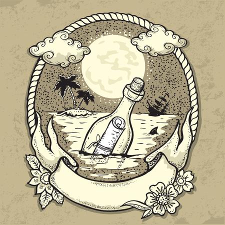 Illustration pour vector illustration of Bottle with mesagein the Ocean - image libre de droit