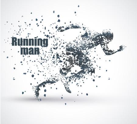 Ilustración de Running Man, particle divergent composition, vector illustration ,solated on white background - Imagen libre de derechos