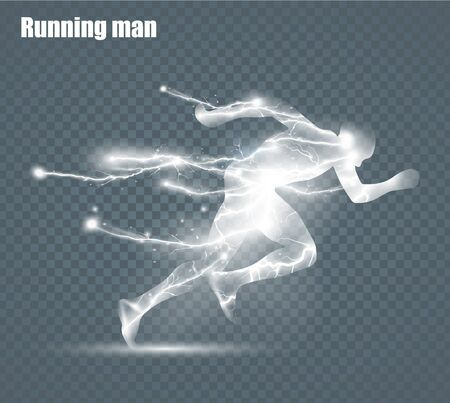 Ilustración de Running Man, flying lightning, vector illustration, solated on black background - Imagen libre de derechos