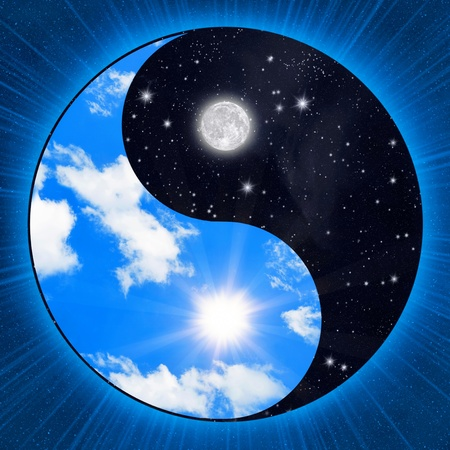 Photo for Yin yang symbol wigh clouds and stars - Royalty Free Image