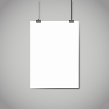 Illustration pour Blank white page hanging against grey background vector template - image libre de droit