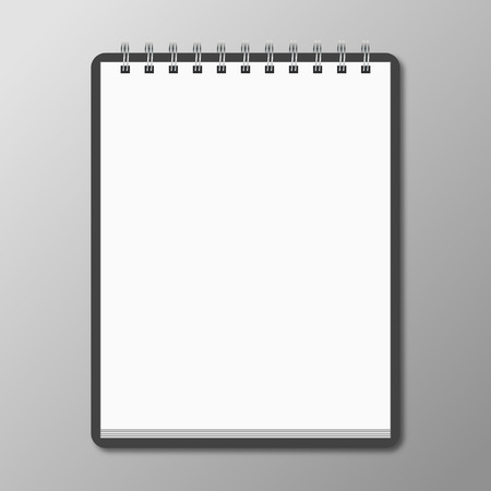 Blank spiral notebook on white background with soft shadows. Vector