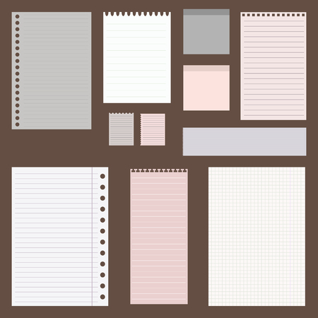 Illustration for dig vintage set of paper designs. paper sheets, lined paper and note paper - Royalty Free Image