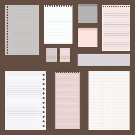 Illustration pour dig vintage set of paper designs. paper sheets, lined paper and note paper - image libre de droit