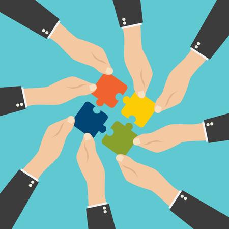 Illustration pour Hands putting puzzle pieces together. Teamwork concept. Flat design - image libre de droit