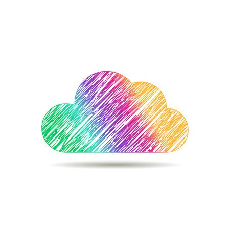 Illustration pour Business cloud brand, cloud storage, files safety, sky cloud icon, clouds technology, brain, app, web design studio.Cloud network. - image libre de droit