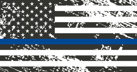 Illustration pour An American flag symbolic of support for law enforcement. police. - image libre de droit