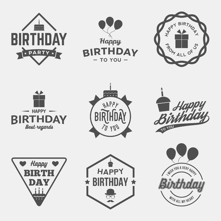 Illustration pour happy birthday vintage labels set. vector illustration - image libre de droit
