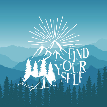 Illustration pour hand drawn typography poster with tent, pine trees and mountains. find yourself. artwork for hipster wear. vector Inspirational illustration on mountain background - image libre de droit