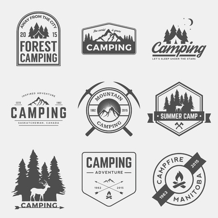 Illustration pour vector set of camping and outdoor adventure vintage logos, emblems, silhouettes and design elements - image libre de droit