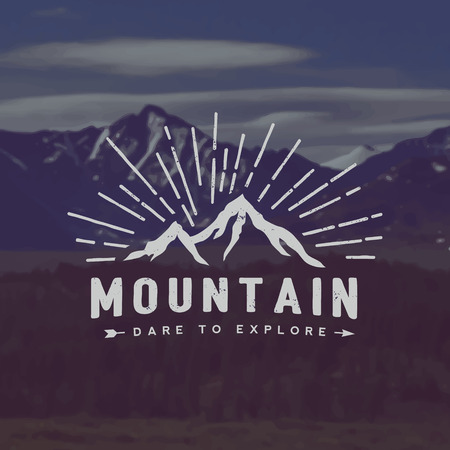 vector mountain exploration emblem. outdoor activity symbol with grunge texture on mountain landscape background