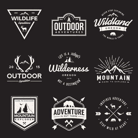 Illustration pour vector set of wilderness and nature exploration vintage  logos, emblems, silhouettes and design elements. outdoor activity symbols with grunge textures - image libre de droit