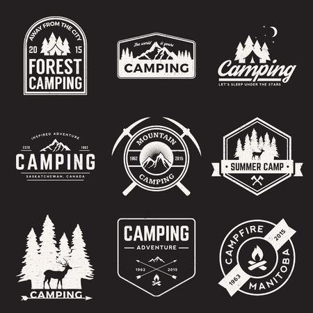 Illustration pour vector set of camping and outdoor adventure vintage logos, emblems, silhouettes and design elements with grunge textures - image libre de droit
