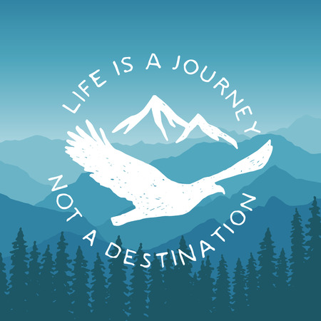 Illustration pour hand drawn typography poster with flying eagle and mountains. life is a journey, not a destination. artwork for hipster wear. vector Inspirational illustration on mountain background - image libre de droit